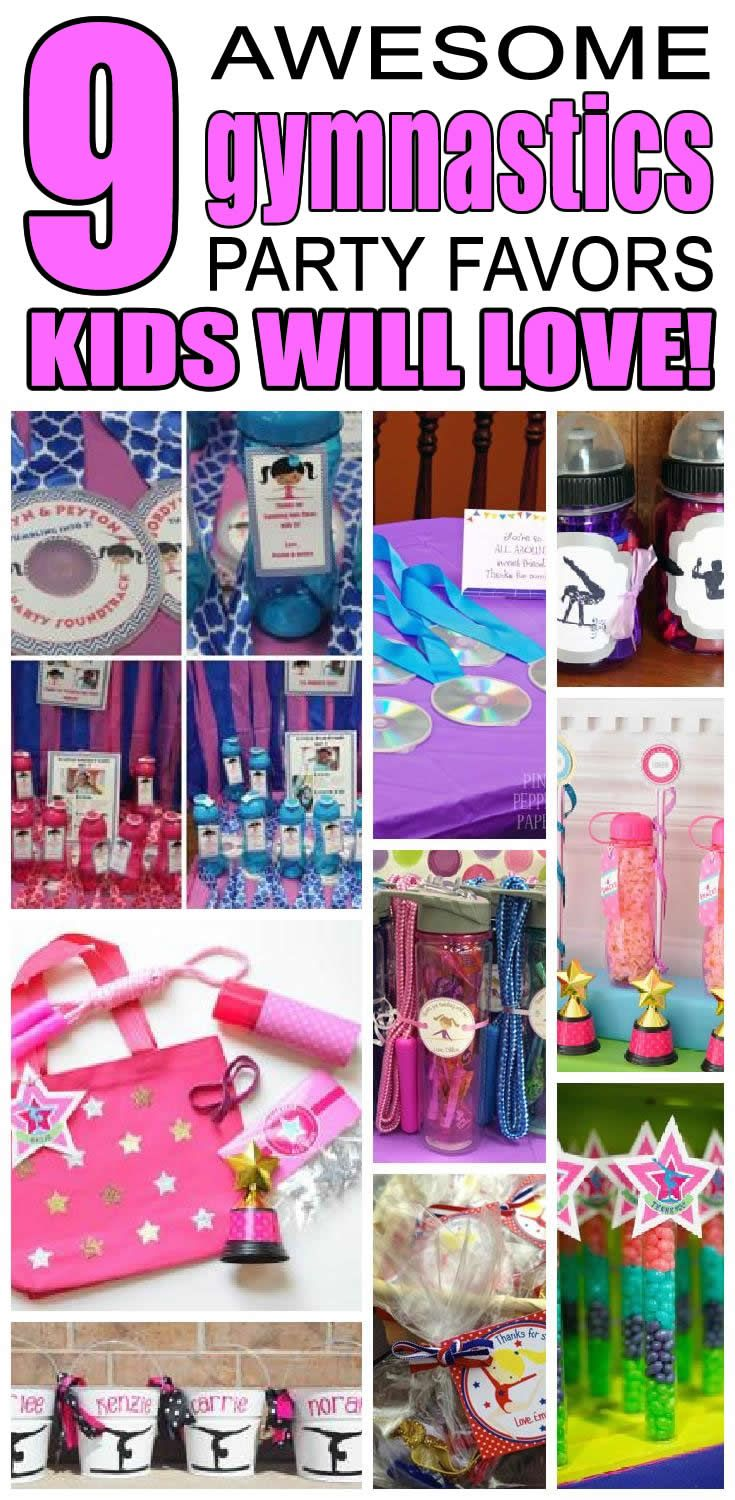 9 gymnastics party favor ideas for kids. Fun and easy gymnastics birthday party favor ideas for children.