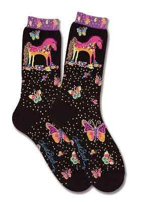 Multicolored Laurel Burch Mythical Mares, with butterflies and flowers touched with gold on this calf sock