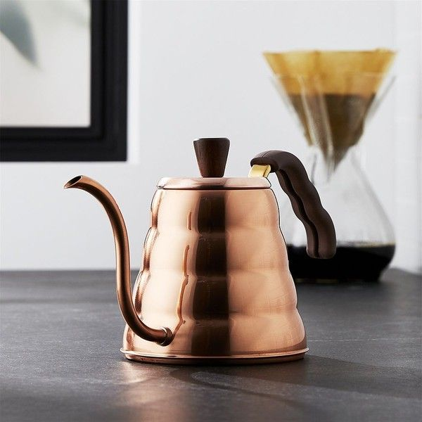 Crate & Barrel Hario Buono Copper Tea Kettle ($125) ❤ liked on Polyvore featuring home, kitchen & dining, cookware, copper gooseneck kettle, gooseneck kettle, crate and barrel, goose neck kettle and copper cookware