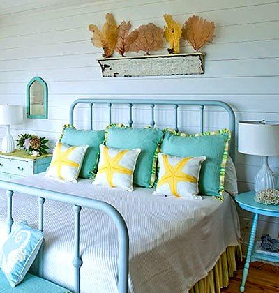 girls beach theme room ideas with aqua yellow color scheme