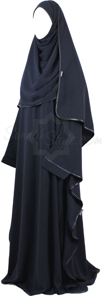 Satin Trimmed Full Butterfly Abaya (Navy Blue) by Sunnah Style #SunnahStyle #farasha #butterflyabaya #abayastyle #satintrim