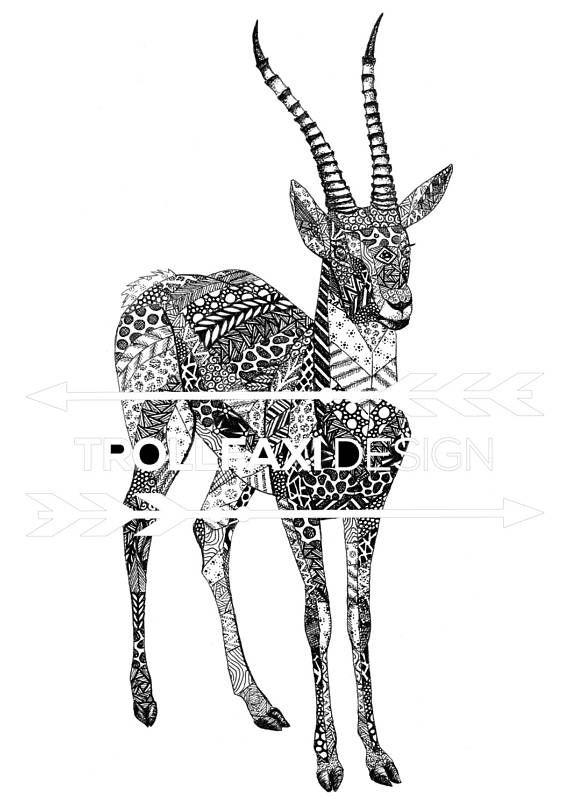 Download Print  PDF Antelope Art  African Drawing  African