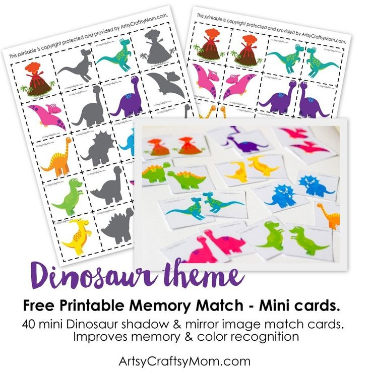 Free Printable  Dinosaur Match Game - Dinosaur Shadow match & Dinosaur mirror image match. Memory game for kids. Helps recognize patterns & colors.