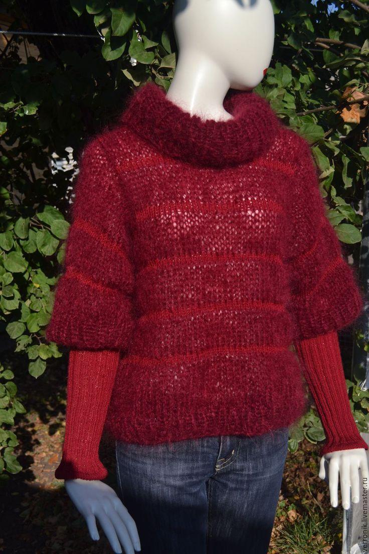 """Купить Свитер вязаный """"Marsala"""" - свитер, свитер вязаный, свитер женский, свитер мохеровый"""