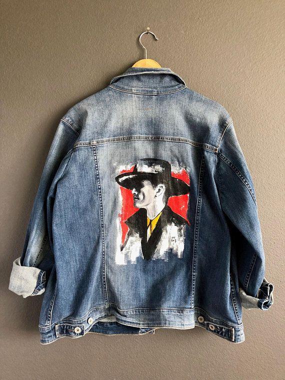 Hand painted boho denim jacket Levi s. Bohemian art to wear jean ... 34a1d3bdb4f4