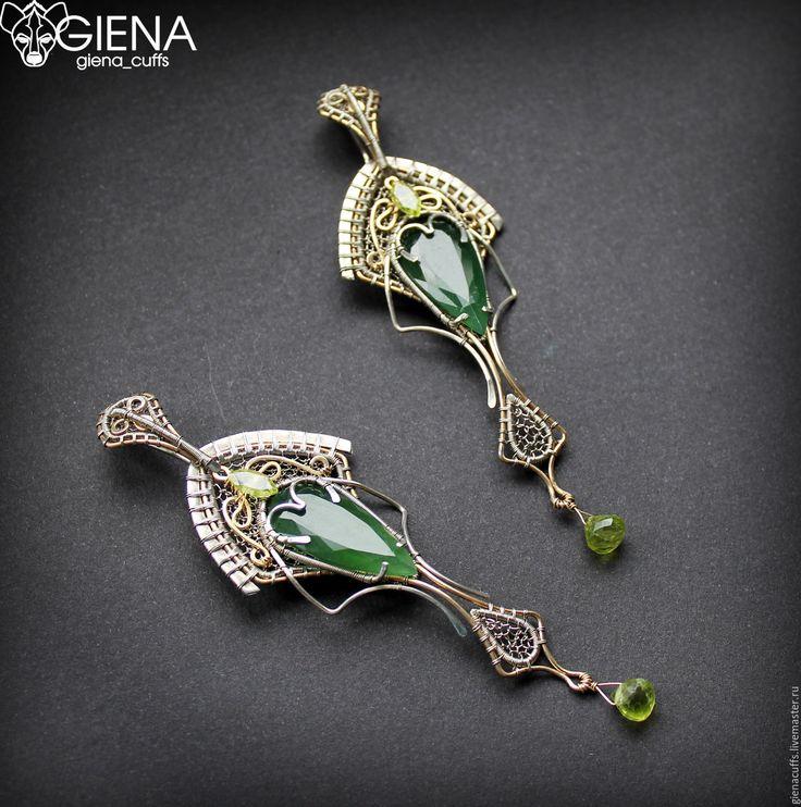 Купить Серьги - тёмно-зелёный, лето, необычные украшения, украшения ручной работы, на ухо, серьги