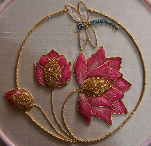 The lotus Symbol in Shaded & Gold Embroidery