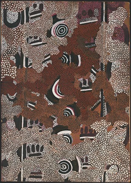 Clifford Possum Tjapaltjarri Anmatyerr c.1932-2002 Bush-fire II 1972 synthetic polymer paint on composition board 61.0 x 43.0 cm National Gallery of Australia, Canberra