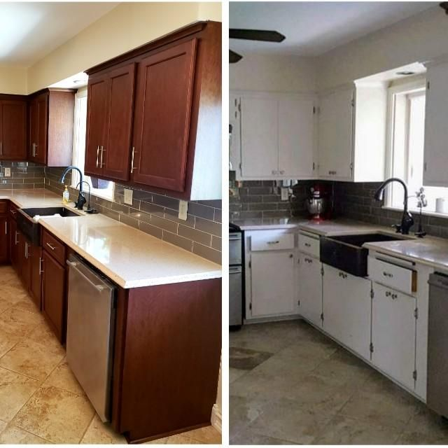 Before And After White Painted Cabinets Converted To Cherry Using Cherry Veneer On The Cabinets And New Cherry Do Paint Cabinets White Wood Veneer Burled Wood
