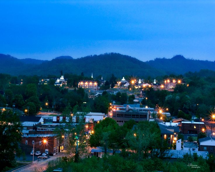 Williamsburg, Kentucky at night c.2008 small town Prints available, n.c.mckinney