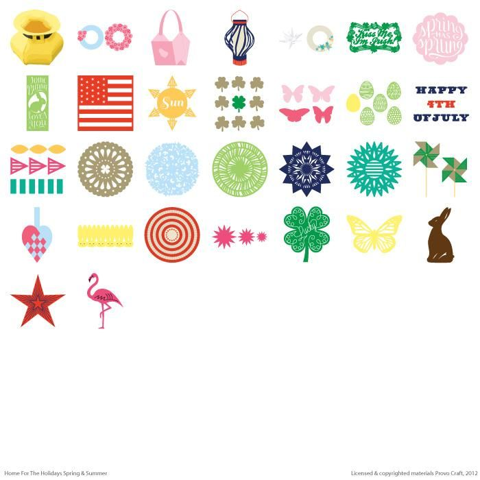 Home For The Holidays Spring And Summer Cricut Cartridge. Create Home And  Party Decor For
