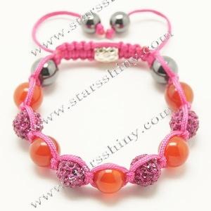 10mm round alloy fushia rhinestone & agate beads adjustable shamballa bracelet wholesale    Material: alloy, rhinestone beads, agate beads    Wear Length: from 7 to 10 inches