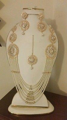 Pakistani bridal set, long pearl necklace 4 piece big bollywood bridal trendy