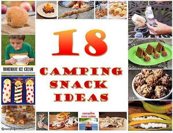 18 Camping Snacks - Next time you are going on a camping trip, surprise your family by making one or more of these creative camping snacks. (http://mothers-home.com/18-camping-snacks/)