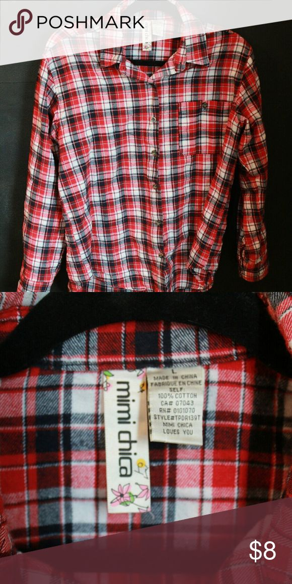 Ladies flannel button up shirt Red, blue, and white plaid flannel shirt. Mimi Chica Tops Button Down Shirts