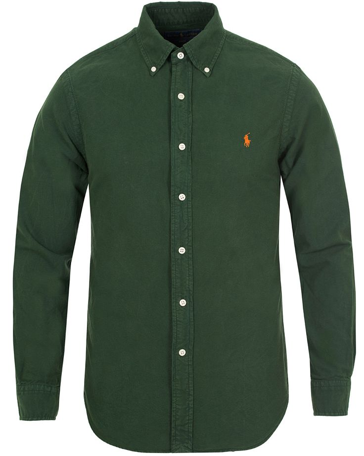 Polo Ralph Lauren Slim Fit Garment Dyed Oxford Shirt Bentley Green i gruppen Skjortor hos Care of Carl (13195511r)