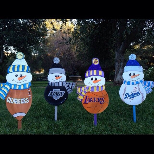 Football basketball hockey baseball holiday snowman yard for Outdoor christmas signs