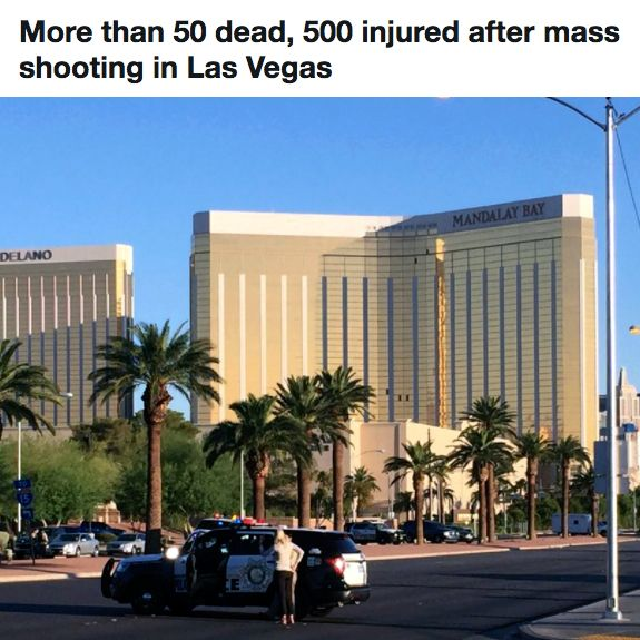 """President Trump said the mass shooting """"was an act of pure evil,"""" and we agree. This is horrible and sickening. We are praying for the victims, their families and friends, and anyone else involved. Thank you to the first responders.   From Fox News:   """"A gunman turned a Las Vegas concert into a killing field Sunday night from his perch on the 32nd floor of the Mandalay Bay Resort and Casino, using at least 10 guns to rain down a steady stream of fire, murdering at least 58 people and…"""