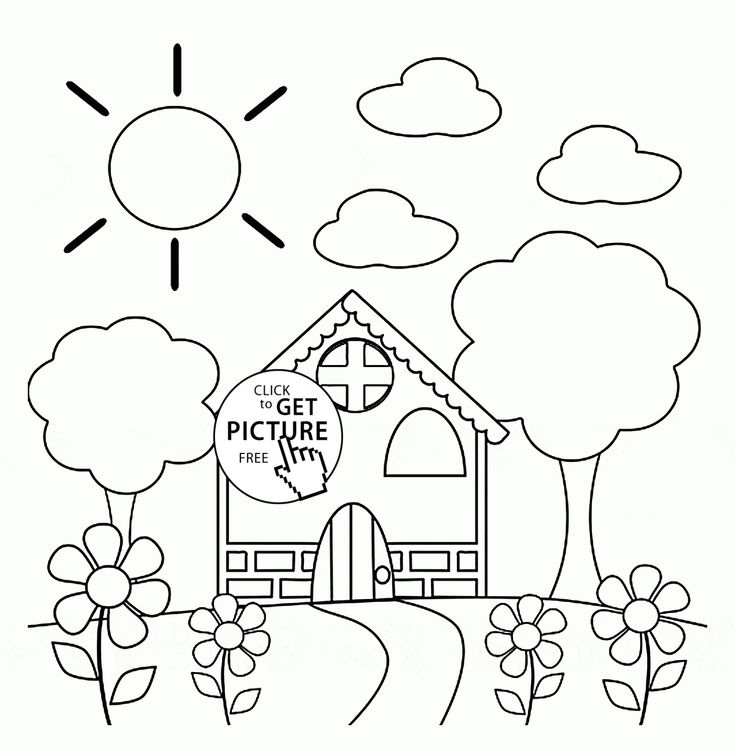Preschool House in Spring coloring page for kids, seasons