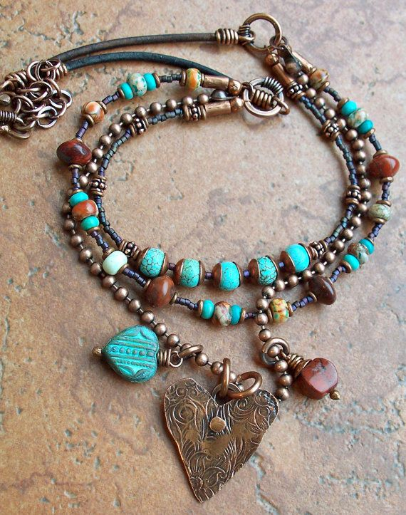 women winter coats on sale RESERVED FOR GIGI Heart Necklace Southwest Copper Charm Metalwork Tur