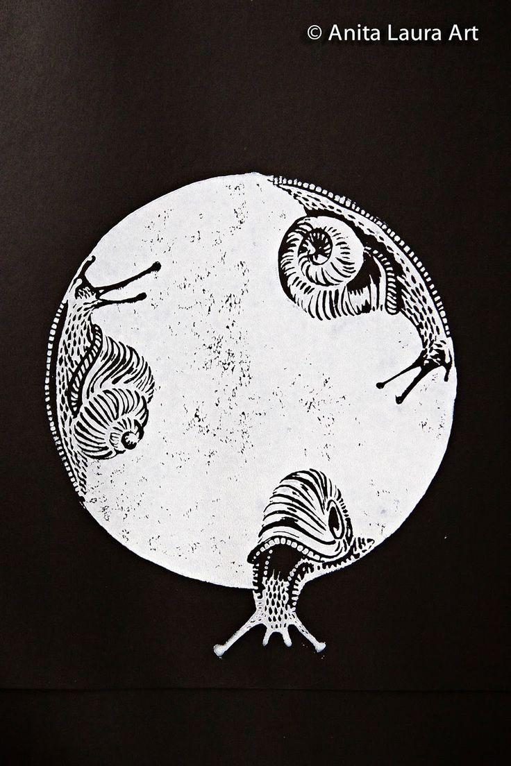 Snails - linocut print - Anita Laura Art