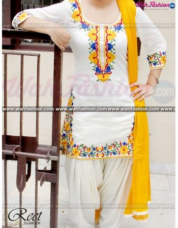 Give yourself a stylish & designer look with this Aesthetic Off White And Yellow Embroidered Punjabi Suit. Embellished with Embroidery work and lace work. Available with matching bottom & dupatta. It will make you noticable in special gathering. You can design this suit in any color combination or in any fabric. Just whatsapp us for more details. For more details whatsapp us: +919915178418