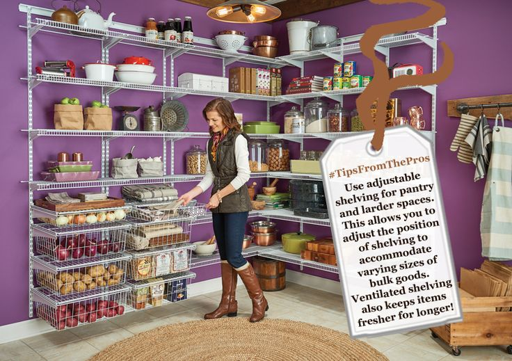 *Tips From The Pros* - Pantry Shelving; Adjustable shelving for pantry and larder storage allows you to reposition shelves to suit your stored items whenever you need. Ventilated wire shelving from ClosetMaid also helps the air to flow, keeping items fresher for longer!
