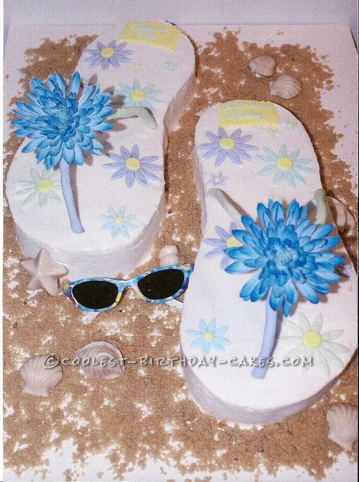 Coolest Flip Flop Birthday Cake... This website is the Pinterest of birthday cake ideas