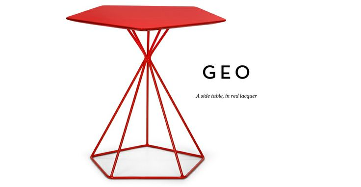 Geo Side Table in red | made.com
