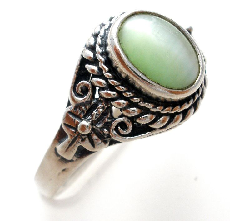 Green Cats Eye Ring Sterling Silver Vintage