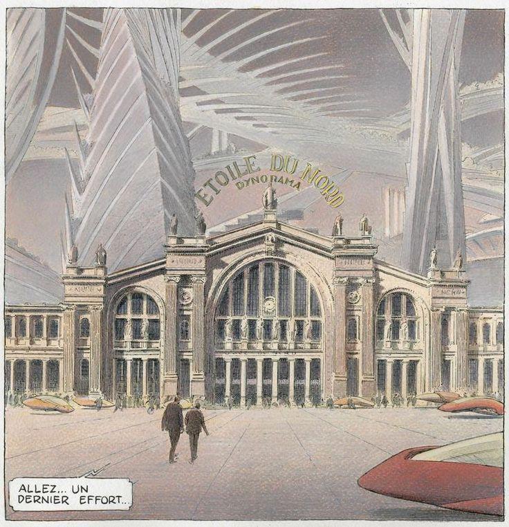 Un hôtel de luxe a remplacé la Gare du nord.  Extrait de « Revoir Paris. La nuit des constellations » de F. Schuiten et B. Peeters, Casterman, octobre 2016.