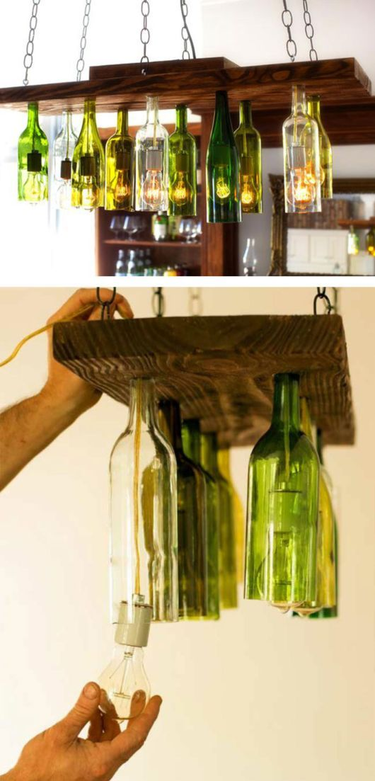 Wine Bottle Chandelier...40 more Old Kitchen Stuffs Repurposed to Trendy Cool Items..