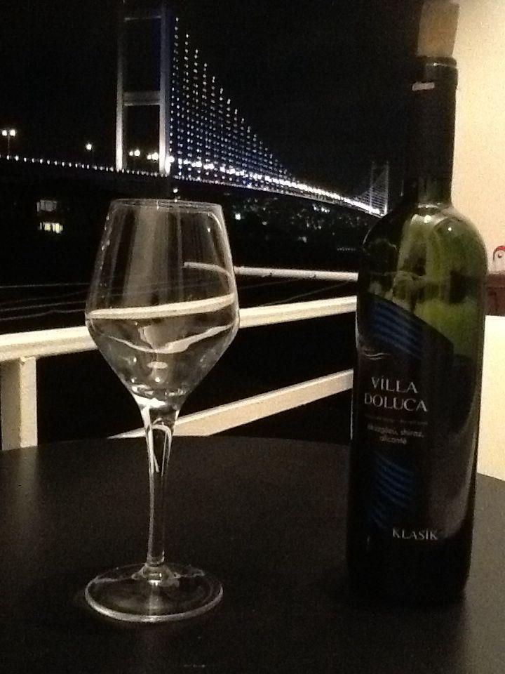 Turkish wine and the bosphorous Bridge.