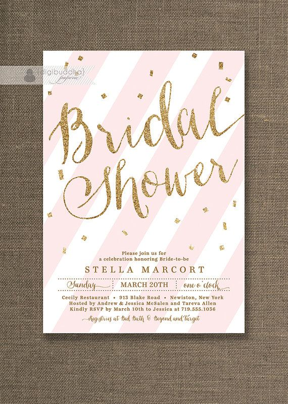 gold glitter bridal shower invitation bridal shower invites pink striped confetti ready made or prin prints and paper goodness pinterest baby shower
