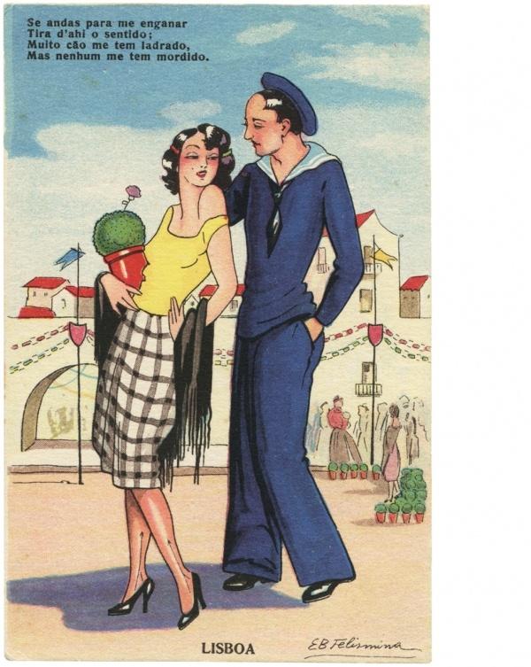 Elisa Bermudez Felismino illustration for portuguese postcards in the 1940's