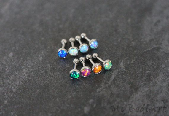 Gorgeous Opal Gemstone Top 16G Silver Barbell Piercing for Tragus Earring, Conch Piercing, Cartilage Stud, Helix Jewelry, Rook Piercing etc. ***