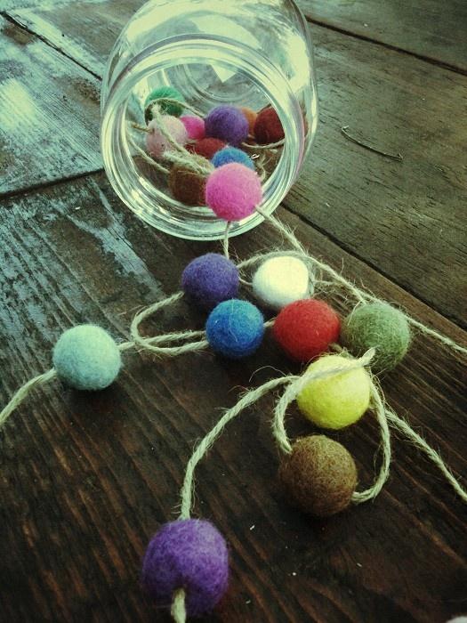 Handmade FELT BALL GARLAND, madeit