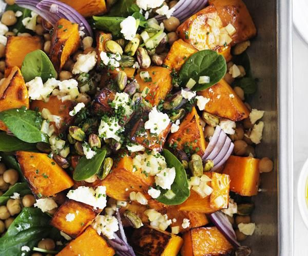 Roast pumpkin, feta and chickpea salad recipe | Food To Love Read more in http://natureandhealth.net/