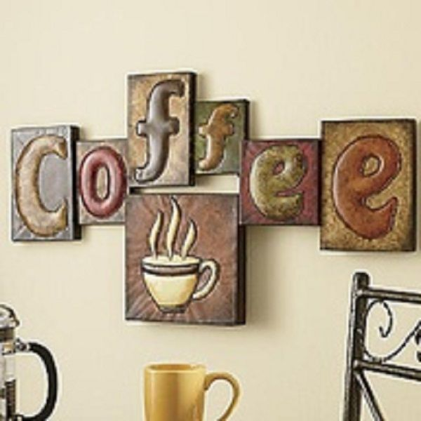 utilize coffee décor for kitchen: coffee pictorial wall hangings