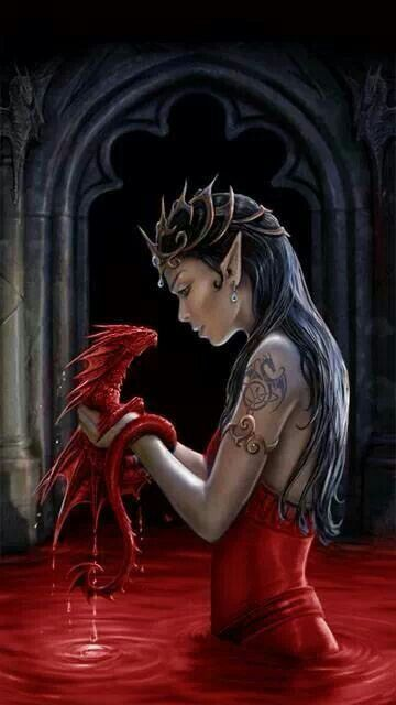 Fantasy Art. Good profile and dragon. And the tattoo