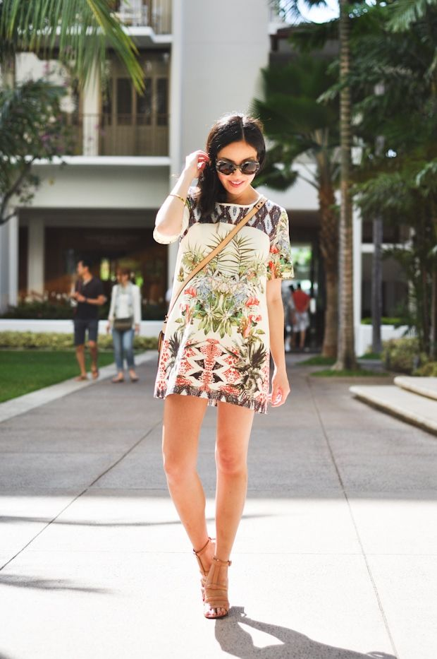 Cute printed dress & sandals.