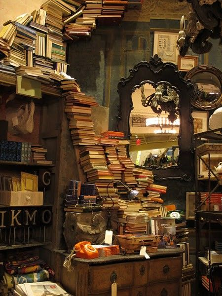 Books to the ceiling ~ This looks like our library!