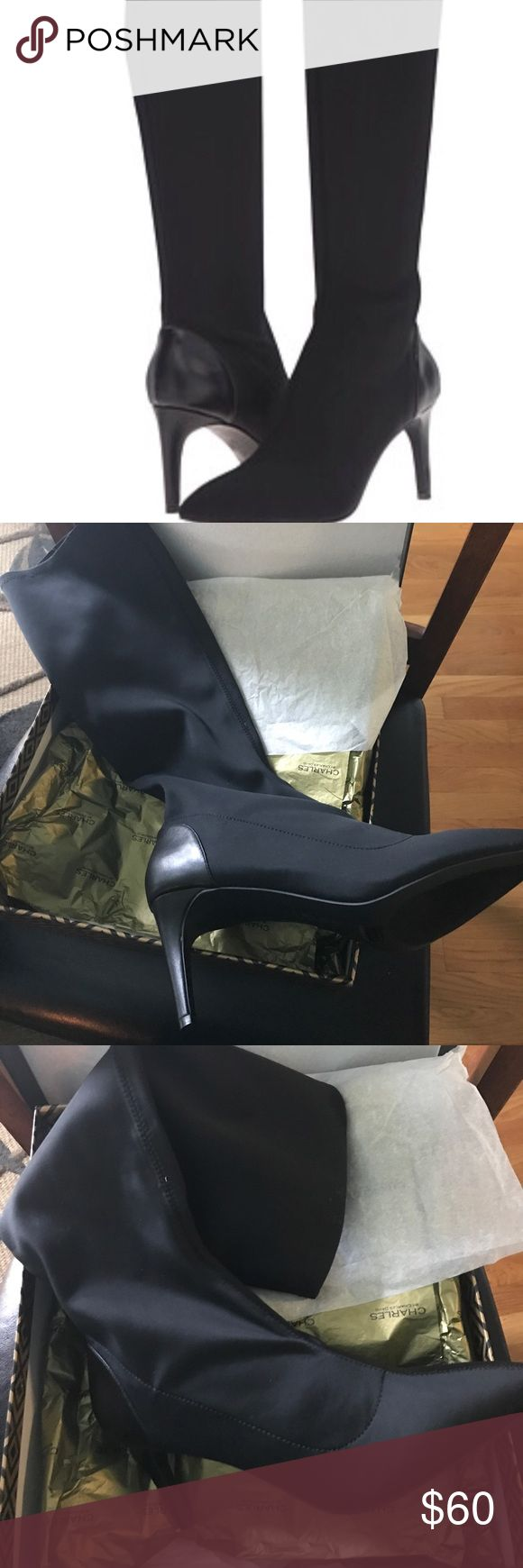 NIB Charles by Charles David Super sKnee high Superstar Stretch Charles David 3 in heel. Black 10 M Charles David Shoes Heeled Boots
