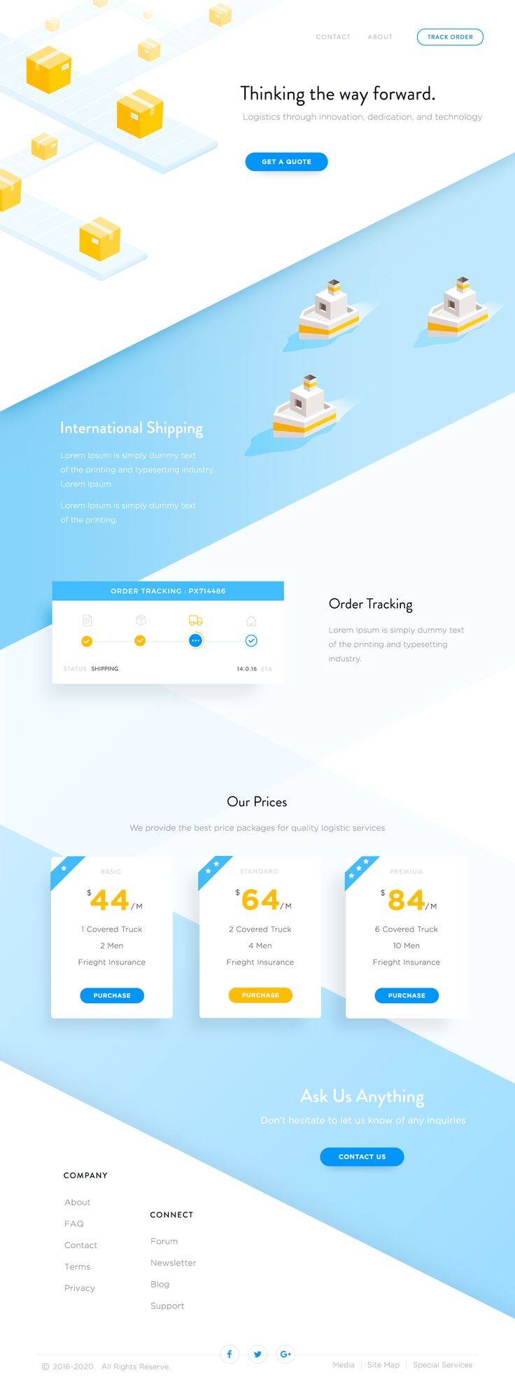 Landing page website concept for Logistic companies