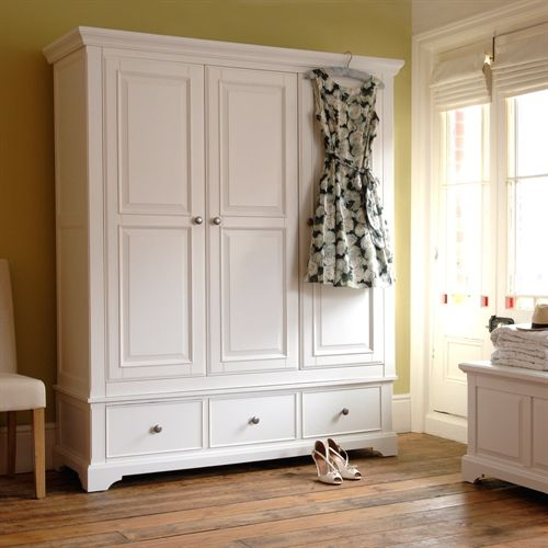 Ascot White Triple Wardrobe, Painted furniture, Painted wardrobe, Vintage Dress, Ascot ladies, Country House, wooden Floors, Blanket Box, White furniture, Country Inspired Living, The Cotswold Company