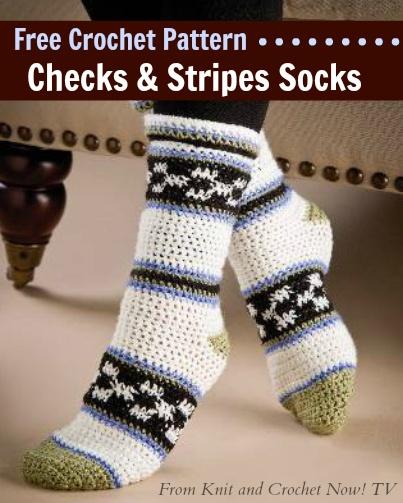 Free Crochet Pattern Download -- This Checks & Stripes Socks pattern, des...