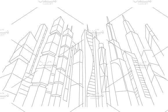 Big city skyscraper sketch buildings. Gray line skeleton strokes Modern architecture landscape. Hand drawn vector stock illustration. #modern #skyscraper