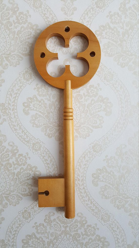 Large wooden key Made in Finland in the 70s
