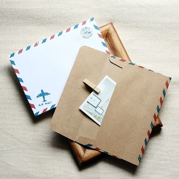 A6 Airmail Envelopes 40 pcs // Retro Envelopes // Brown Envelopes // Invitation Envelopes