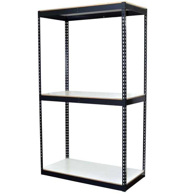 96 in. H x 48 in. W x 24 in. D 3-Shelf Bulk Storage Steel Boltless Shelving Unit w/Double Rivet Shelves & Laminate Board, Powder Coated Steel Color Gray